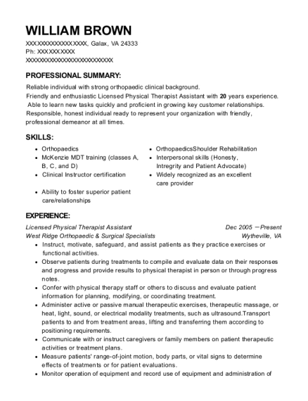 Licensed Physical Therapist Assistant resume template Virginia