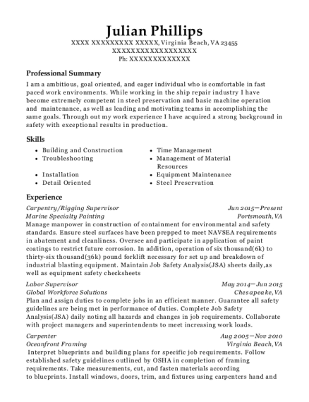 Carpentry resume format Virginia