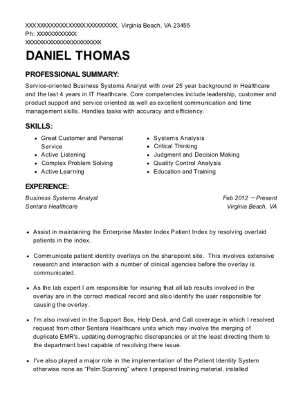 Business Systems Analyst resume example Virginia