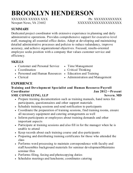 Training and Development Specialist and Human Resource resume sample Virginia