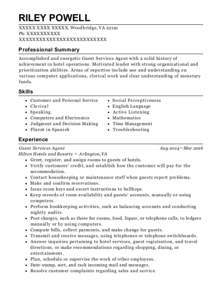 Guest Services Agent resume template Virginia