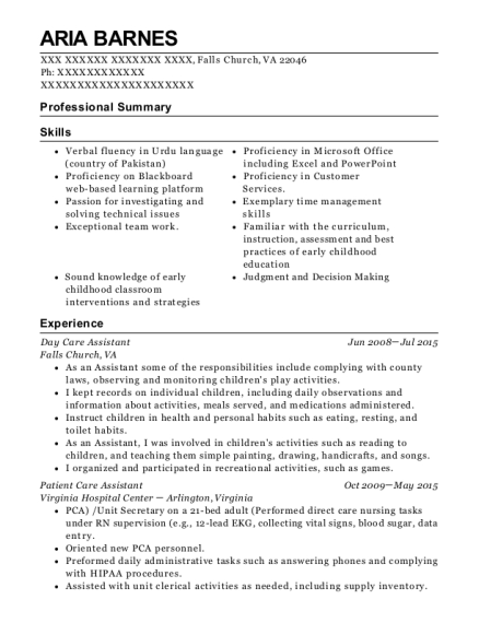 Day Care Assistant resume example Virginia
