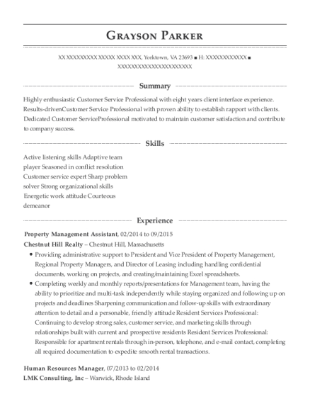 Property Management Assistant resume template Virginia