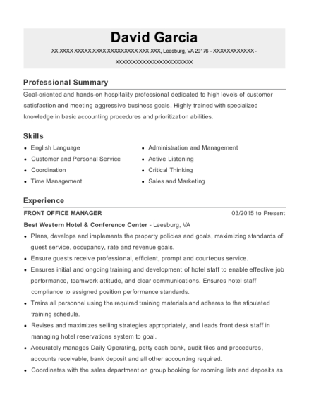 Front Office Manager resume format Virginia