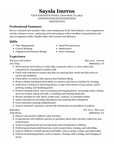 Waitress and Cashier resume example Virginia