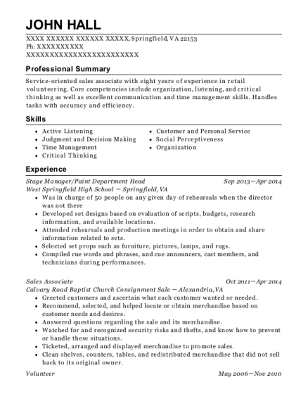 Stage Manager resume template Virginia
