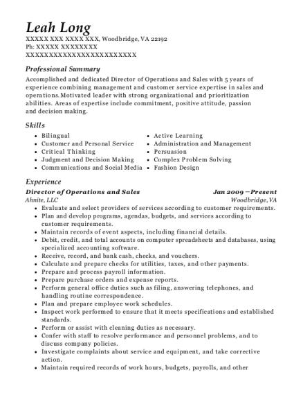 Director of Operations and Sales resume format Virginia