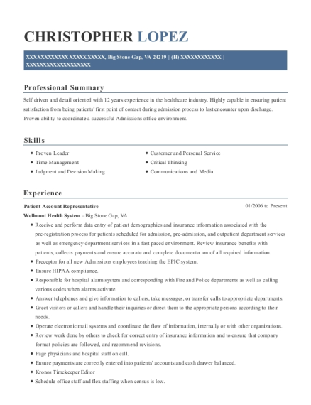 Patient Account Representative resume template Virginia