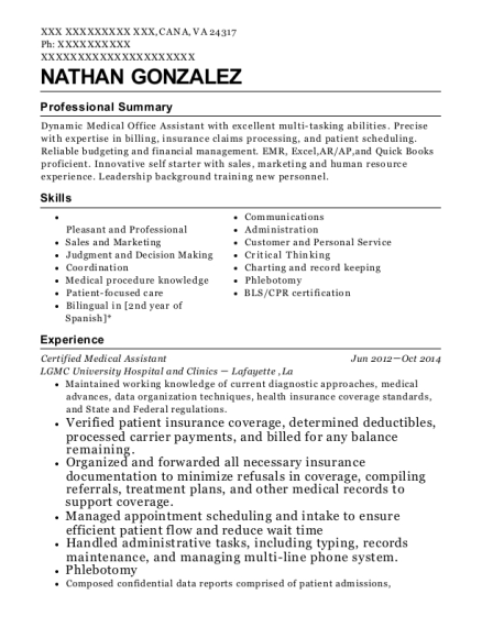 Certified Medical Assistant resume example Virginia