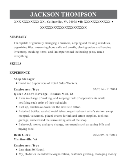 Shop Manager resume template Virginia