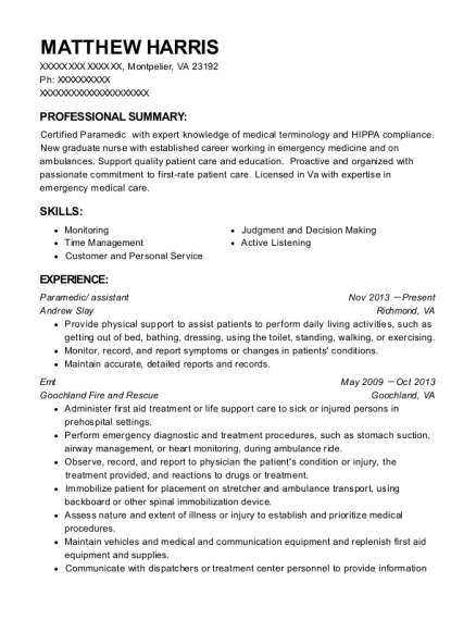 Paramedic resume example Virginia