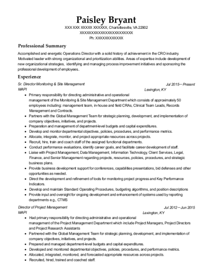Sr Director Monitoring & Site Management resume example Virginia
