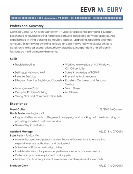 Meat Cutter resume format Virginia