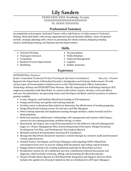 Senior Consultant resume template Virginia