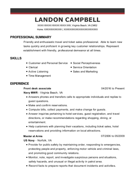 Front Desk Associate resume example Virginia
