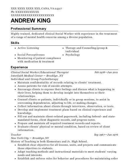 Clinical Social Worker resume template Virginia