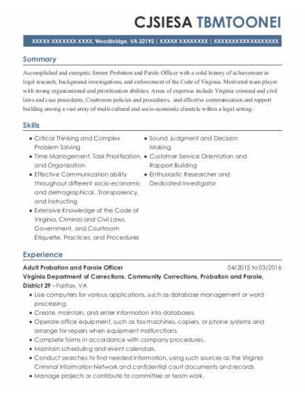 Juvenile Probation Officer resume example Virginia