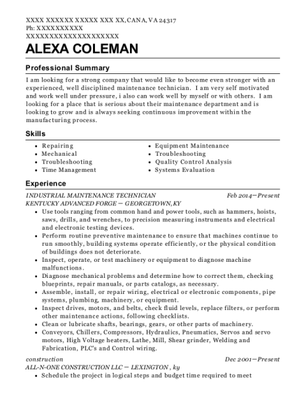 INDUSTRIAL MAINTENANCE TECHNICIAN resume template Virginia