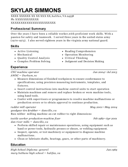 CNC machine operator resume example Virginia