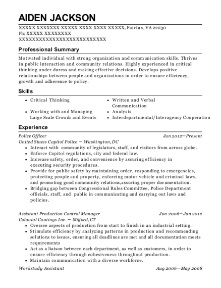 Police Officer resume template Virginia