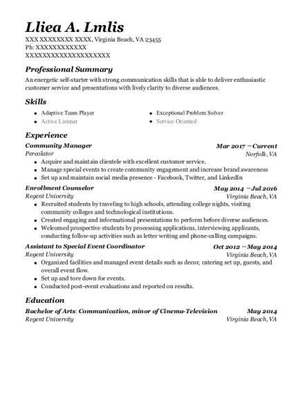 Community Manager resume template Virginia