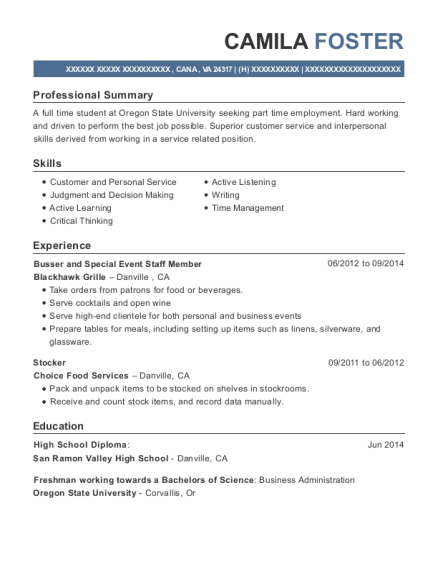 Busser and Special Event Staff Member resume format Virginia