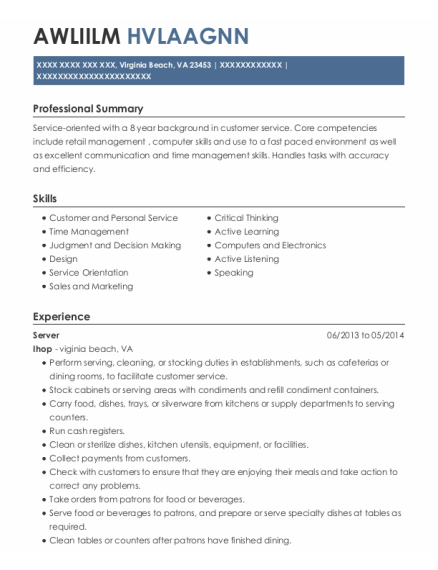 Server resume sample Virginia