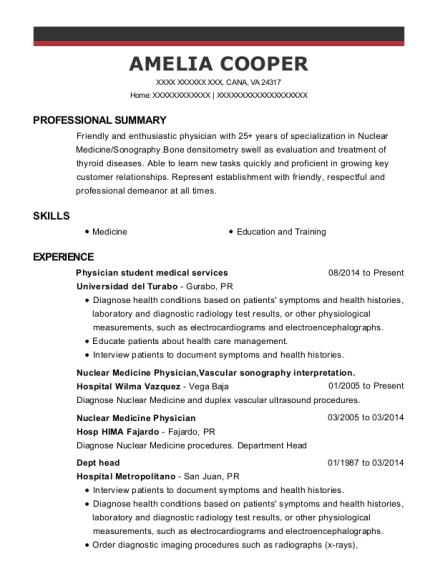 Physician student medical services resume example Virginia