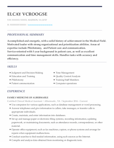 Certified Clinical Medical Assistant resume format Virginia