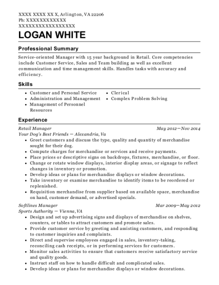 Retail Manager resume example Virginia