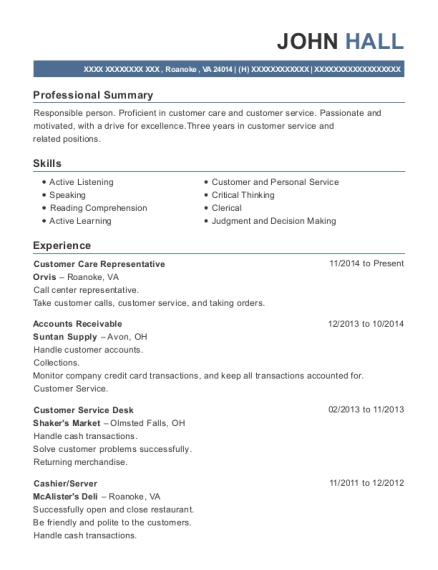 Customer Care Representative resume format Virginia