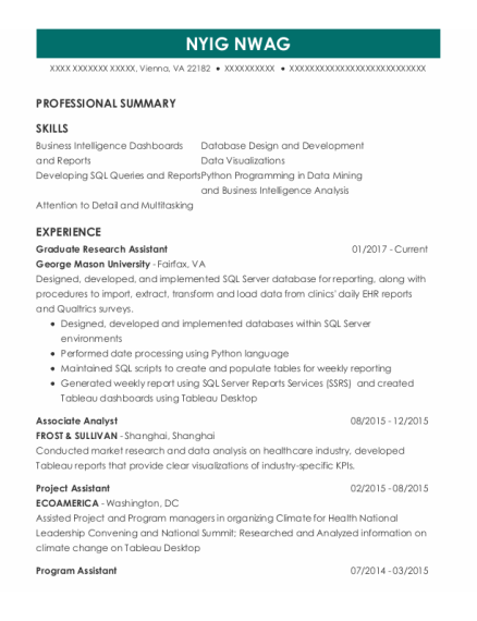 Graduate Research Assistant resume format Virginia