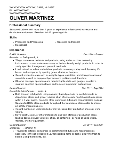 Forklift Operator resume example Virginia
