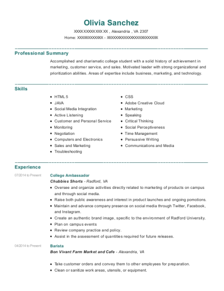 College Ambassador resume template Virginia