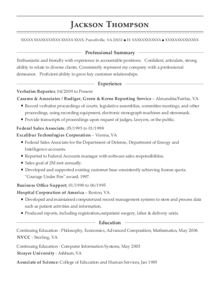 Verbatim Reporter resume example Virginia