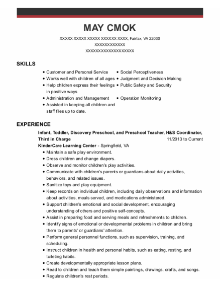 Infant resume template Virginia