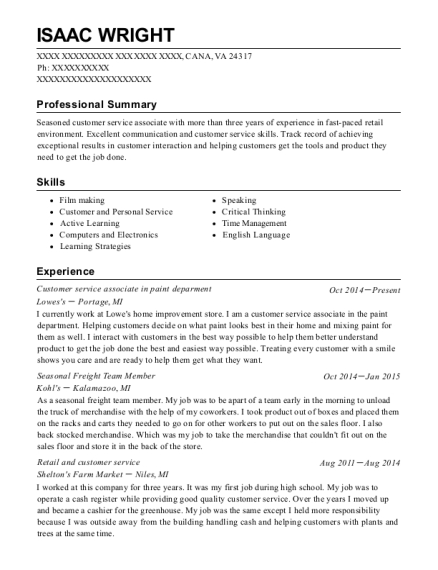 Customer service associate in paint deparment resume example Virginia