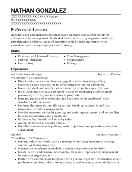 Assistant Store Manager resume format Virginia