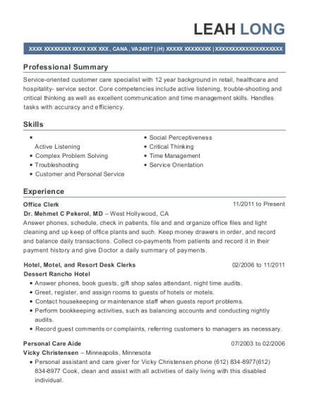 Office Clerk resume format Virginia
