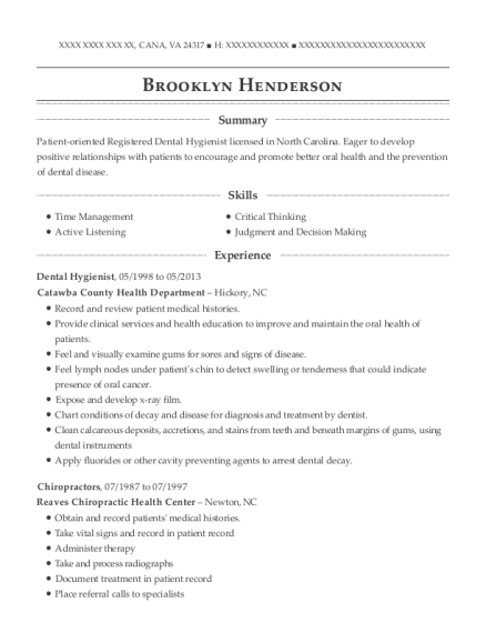 Dental Hygienist resume template Virginia