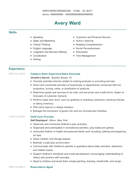 Category Sales Supervisor resume example Virginia