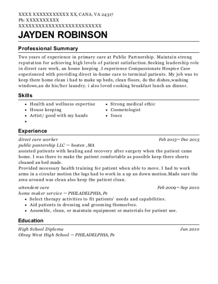 direct care worker resume example Virginia