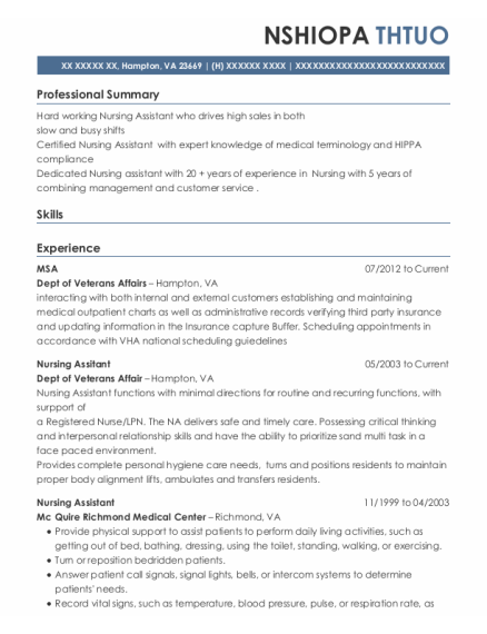 Nursing Assitant resume format Virginia