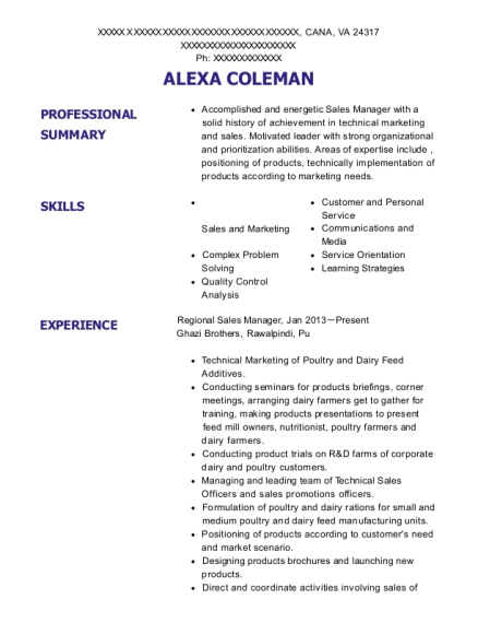 Regional Sales Manager resume template Virginia