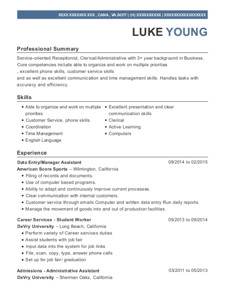 Data Entry resume template Virginia