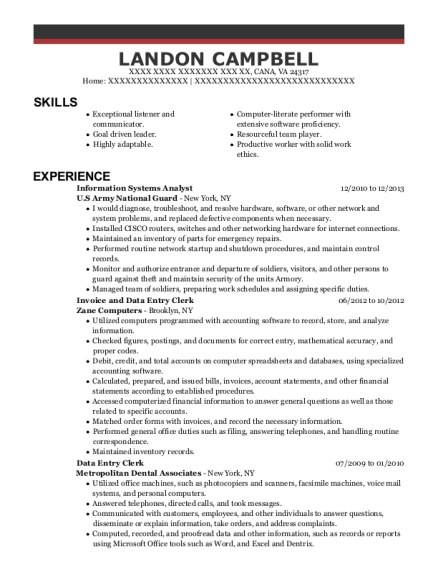 Information Systems Analyst resume example Virginia