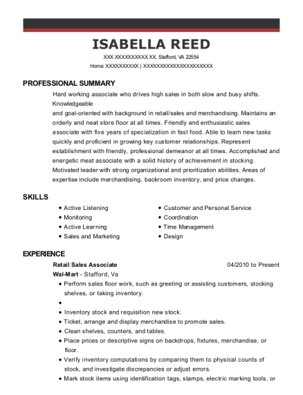 Retail Sales Associate resume template Virginia