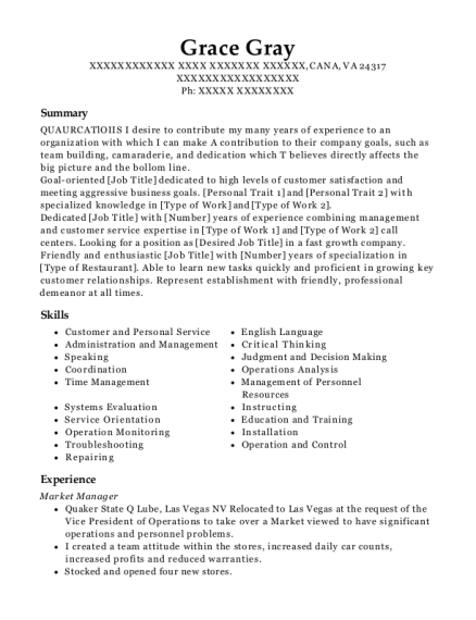 Market Manager resume template Virginia