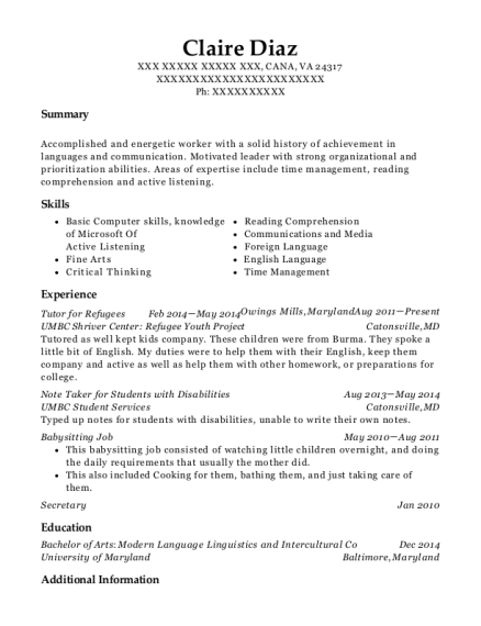 Tutor for Refugees resume example Virginia