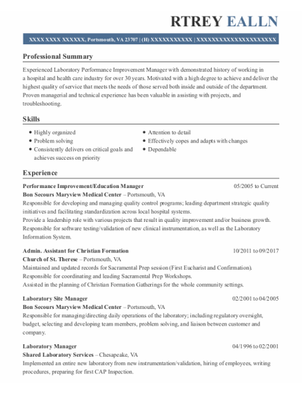 Education Manager resume example Virginia